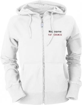 Fiat-Forum.de Ladies Hooded Jacket weiß/schwarz