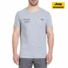 New-Jeep-Forum.de T-Shirt (Light Grey Melange/Dark Grey Blue) mit Vertikalem Sternenbanner auf der Rückseite J7S