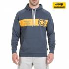 New-Jeep-Forum.de Sweatshirt (Dark Grey Blue/Golden Yellow) mit Horizontalem Streifen, Stern und Bauchtasche J7S