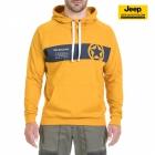 New-Jeep-Forum.de Sweatshirt (Golden Yellow/Dark Grey Blue) mit Horizontalem Streifen, Stern und Bauchtasche J7S